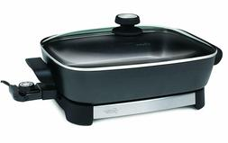 Electric Skillet 16 Inch Non Stick Surface Stainless Steel F
