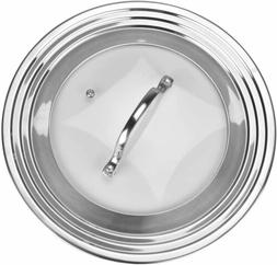 Elegant Stainless Steel and Glass Universal Lid, Fits All 7""