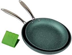 WaxonWare Emerald Nonstick Frying Pan Set 9.5 & 11 Inch Omel