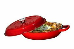 Enameled Cast Iron Casserole Braiser  Pan with Cover 3.8-Qua