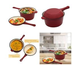 Enameled Cast-Iron Multi-Cooker Pot + Frying Pan Set Saucepa