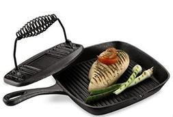 Essential Home Cast Iron Grill Pan and Press Set Frying Pan