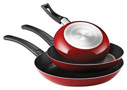 Tramontina 3-Piece EveryDay Nonstick Saute Pan Set, Red
