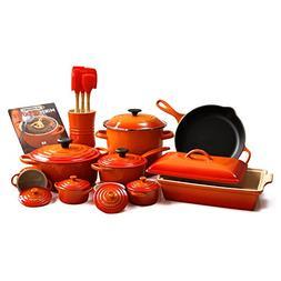 Le Creuset Flame 24 Piece Gourmet Cookware Set with 4.5 Quar