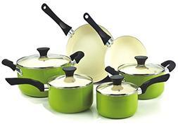 Premium Cookware Set Nonstick Ceramic Coating 10 Piece, Gree