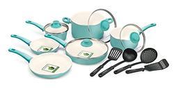 Premium 14 Piece Turquoise Cookware Set Premium Nonstick Cer