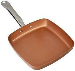 "Copper Chef Fry Pan Sq 9.5"" Ceramic Induction Non Stick Stai"