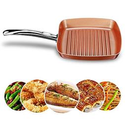Frying Fry Skillet Grill Pan Copper Square Ceramic Coating N