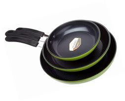 Green Earth Frying Pan 3-Piece Set by Ozeri , with Textured