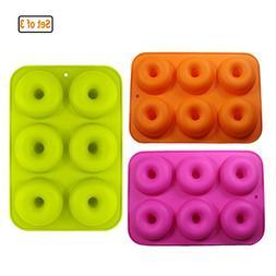 GuDoQi 3 Pieces Donut Mold Food Grade Silicone Non-Stick Bpa