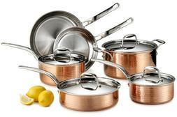 Hammered Copper Tri-Ply Cookware Set Martellata 10-Piece Sta