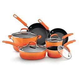 Rachael Ray Hard Enamel Nonstick 10-Piece Cookware Set, Oran