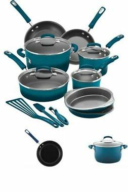 Rachael Ray 15-Piece Hard Enamel Nonstick Cookware Set Marin