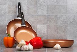 Healthy Nonstick Ceramic Coated Frying Pan - 3 Pcs Eco Frien