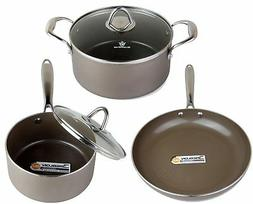 WaxonWare 5 Piece Nonstick Cookware Set Ceramic Frying Pan,