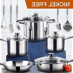 HOMI CHEF 14-Piece Mirror Polished Nickel Free Stainless Ste