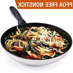 """HOMI CHEF 9.5"""" Mirror Polished Stainless Steel Nonstick Omel"""