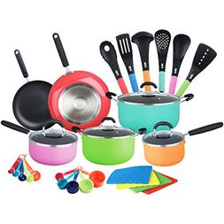 HULLR Aluminum Nonstick All In One Kitchen Cookware Set Incl