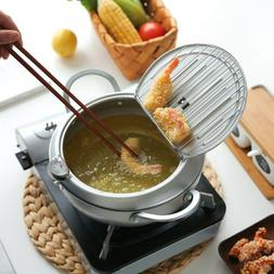 Japanese Style Deep Frying Pot Thermometre Tempura Fryer Pan