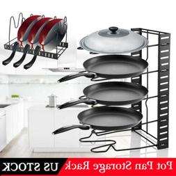 Kitchen 5-Tiers Iron Pot Frying Pan Lid Storage Rack Organiz
