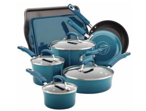 12pc Rachel Ray Cookware Set Nonstick Blue Pots Pans Lids Te