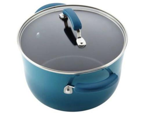 12pc Rachel Ray Cookware Set Nonstick Blue Pans Lids Teal Stick Rachael