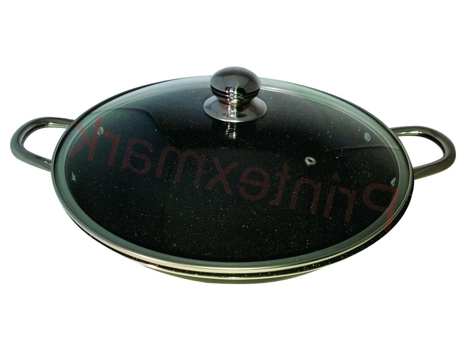 Granite Stone Frying Pan Lid Induction Base Durable New