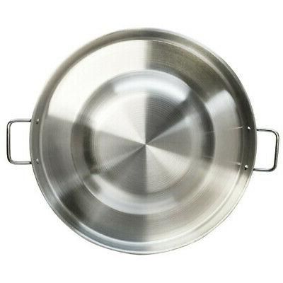 "22"" Round Stainless Steel Concave Bola Taco Grill Pan Frying Wok"