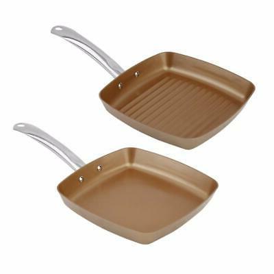 2pcs Copper Coating Bottom Frying Pans Non-Stick Square Gril