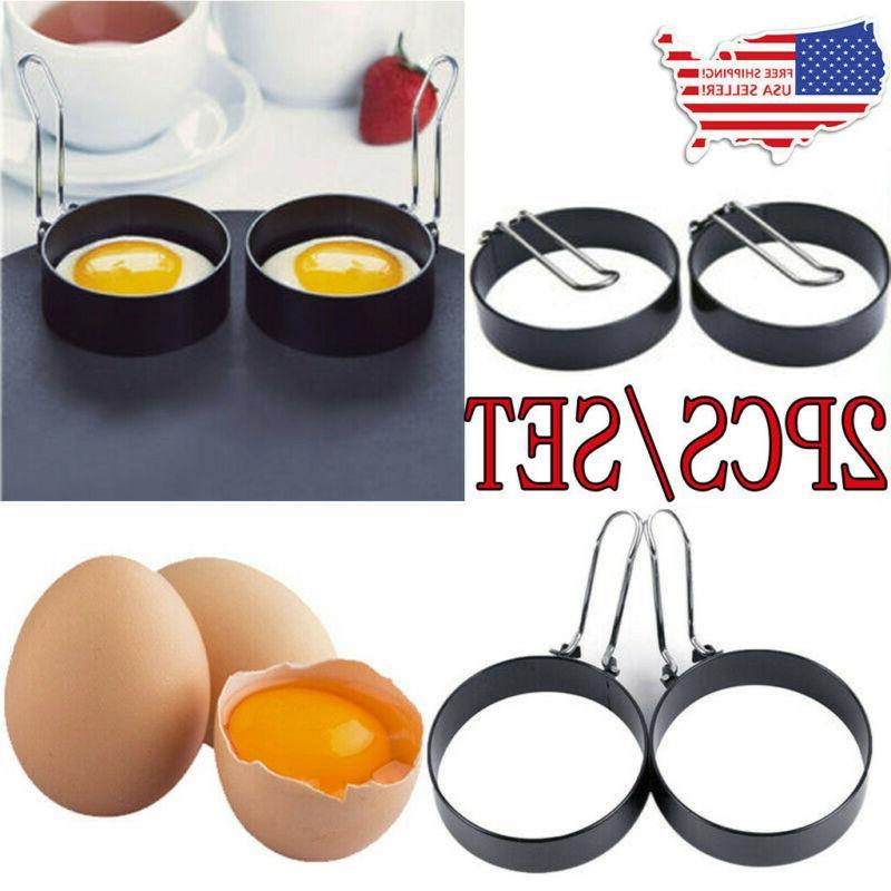 2pcs round egg ring pancake mould stainless