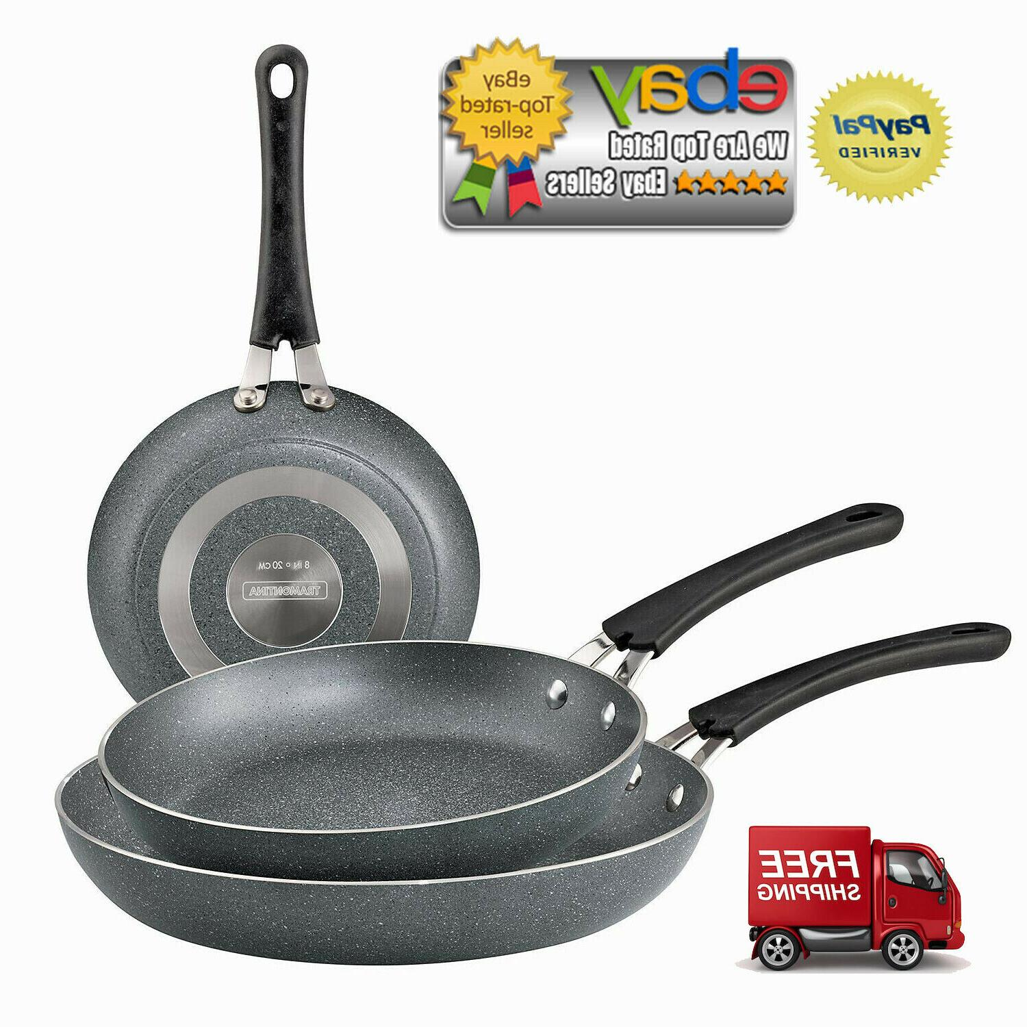 3 pack ceramic reinforced nonstick fry pans