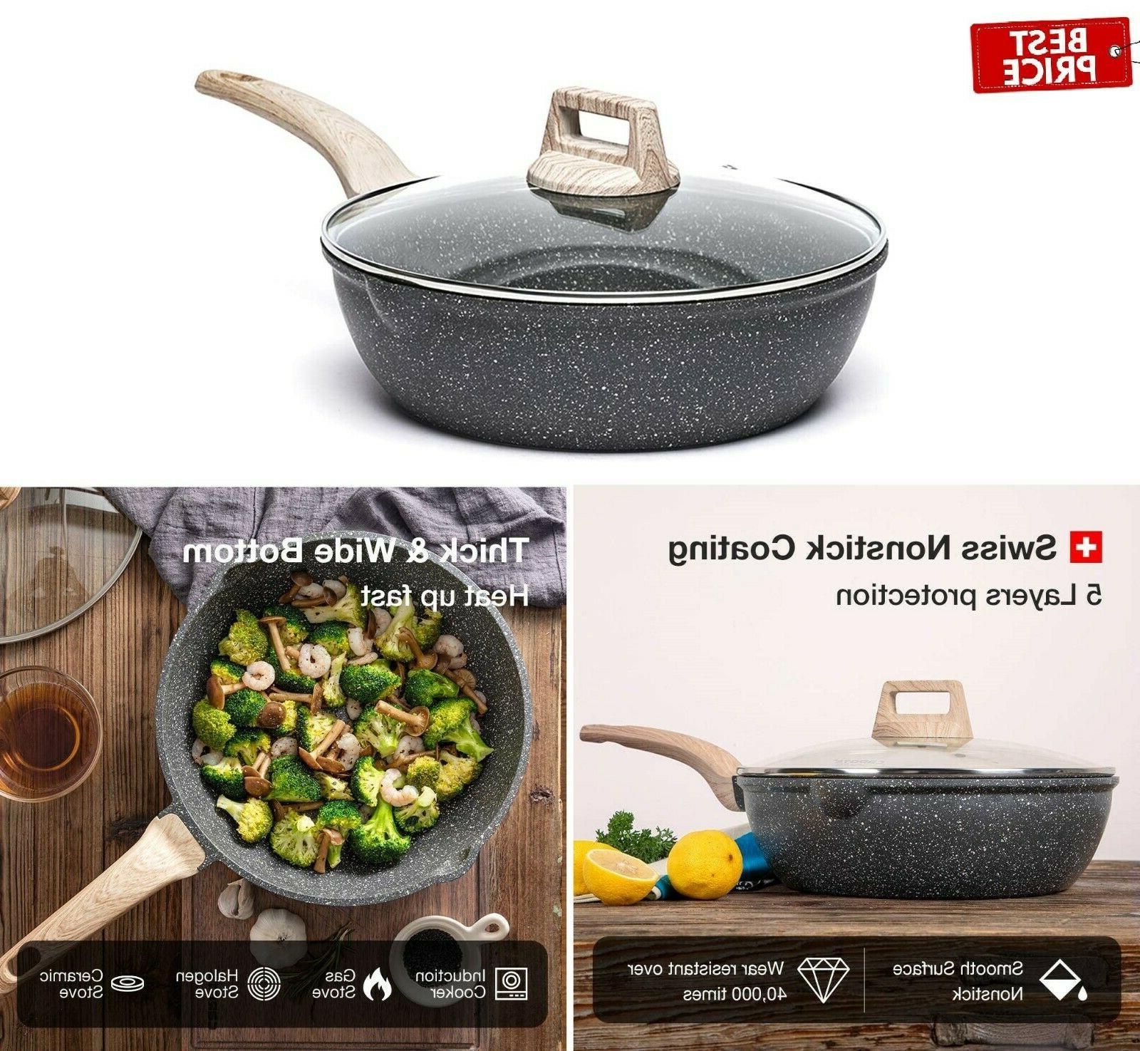 3 quart nonstick saute deep frying pan