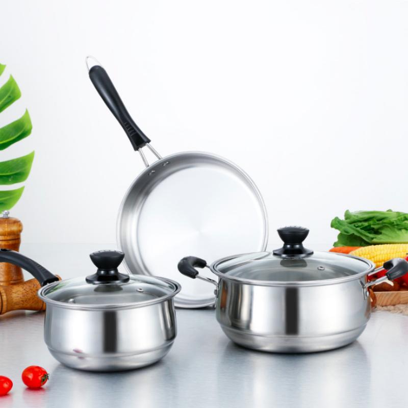 3PCS Cookware Sets Household <font><b>Pots</b></font> <font><b>Frying</b></font> <font><b>Pan</b></font>/Milk <font><b>Pot</b></font>/Soup <font><b>Pot</b></font> 216