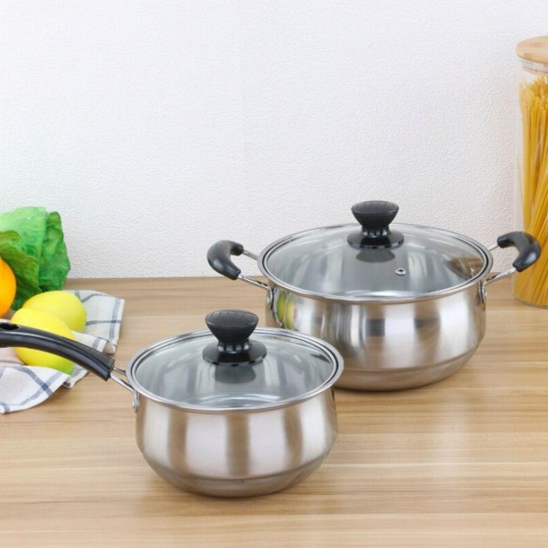 3PCS Cookware Sets Household Stainless Steel <font><b>Pots</b></font> Flat <font><b>Frying</b></font> <font><b>Pan</b></font>/Milk 216