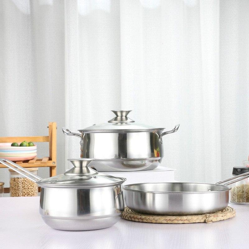 3PCS Anti-scalding Cookware Sets Household <font><b>Pots</b></font> <font><b>Frying</b></font> 216