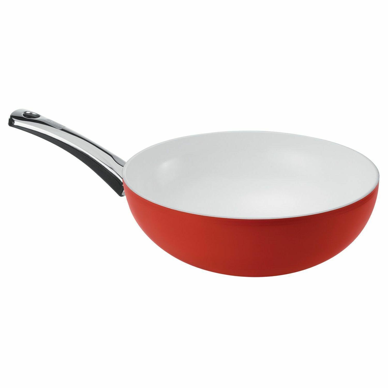 Berndes 079609 Signocast Pearl Red Wok 11.5 Inch 4.5 Quart