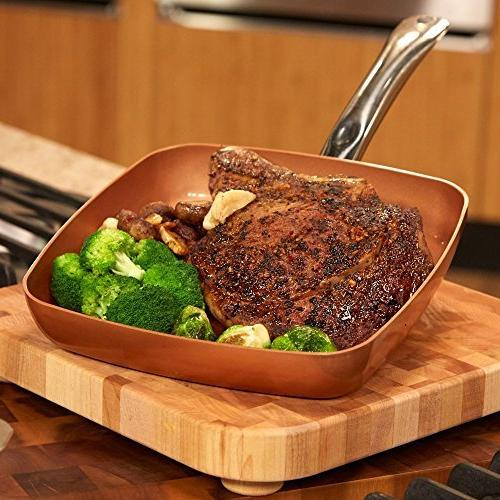 Copper Square Frying Pan - Skillet with Non Coating. Perfect Grill