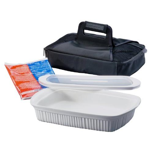 CorningWare French White 3-Quart Oblong Portable Dish, 4-Piece