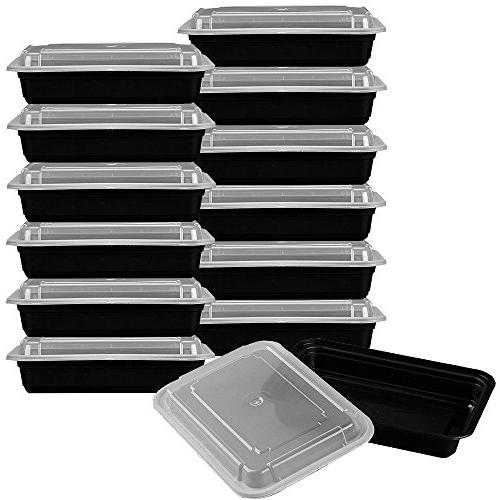 Heim Prep Food with Lids Durable Reusable Rack Dishwasher Safe Microwavable Stackable Meal Prep To-Go Convenience