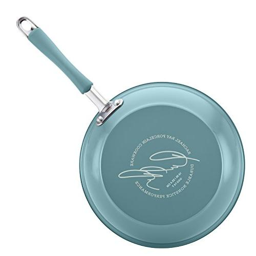 Rachael Ray Porcelain Enamel Nonstick Skillet Set, and 11-Inch, Agave Blue