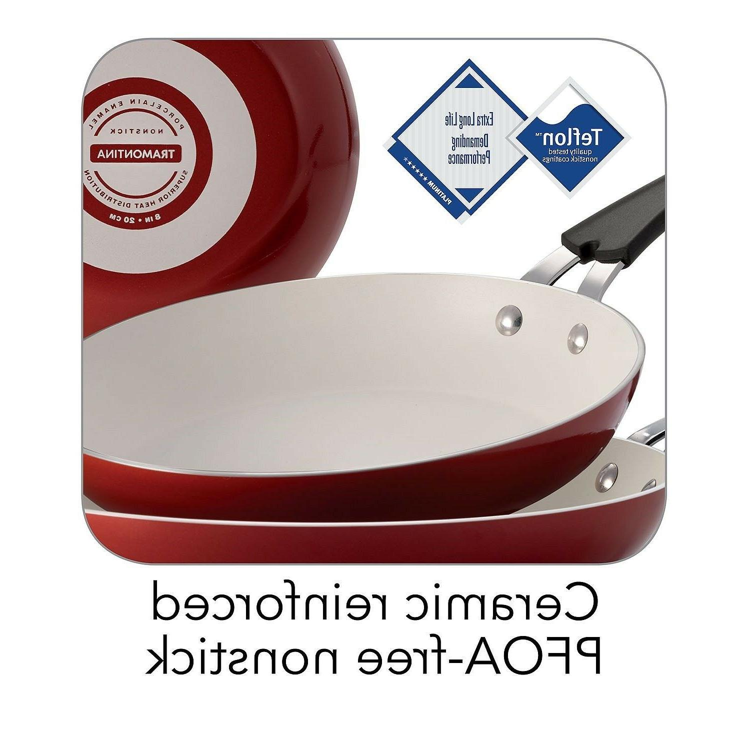 Red - 3-Pack Ceramic-Reinforced Fry Pans Kitchen