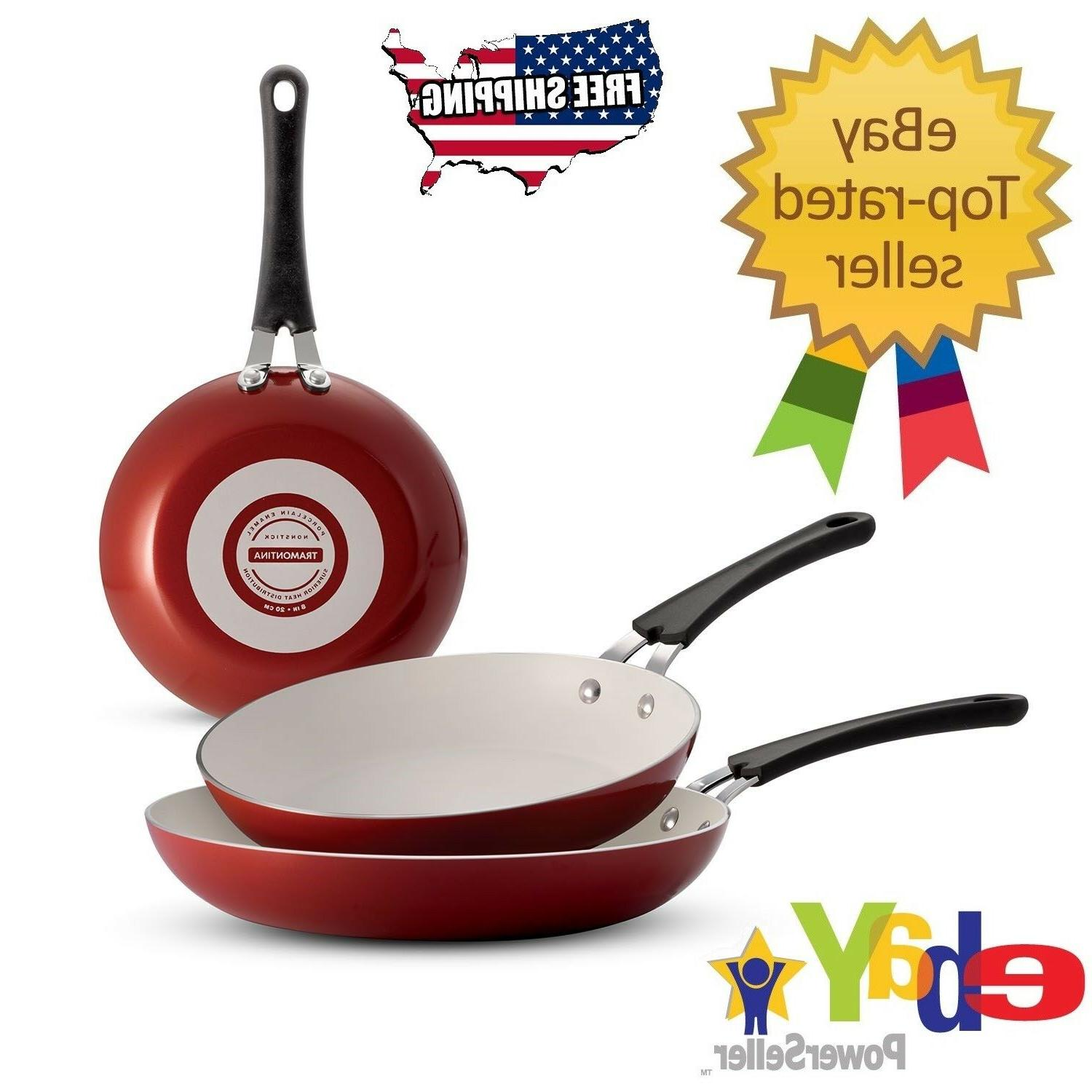 Red - Tramontina 3-Pack Ceramic-Reinforced Nonstick Fry Pans
