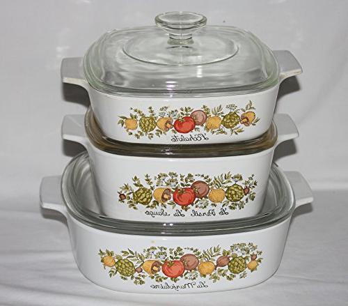 "Set 3 Vintage 1970s "" Spice "" 1 2 Baking Dishes"