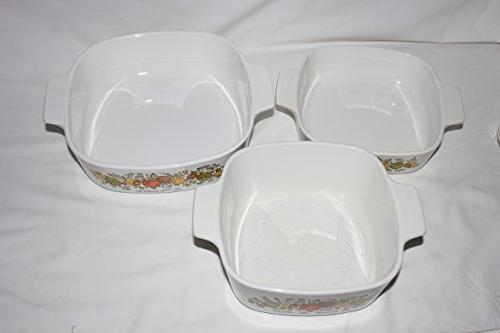 "Set Vintage 1970s Corning "" "" 1 Quart, 1 Quart 2 Baking Dishes w/ Lids"
