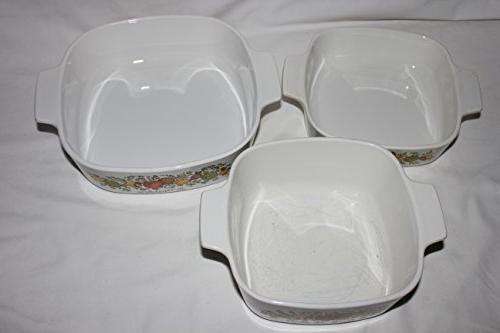 """Vintage Ware """" Spice O' """" 1 Quart, 1 Quart & 2 Liter Skillet Casserole Baking Dishes Lids"""
