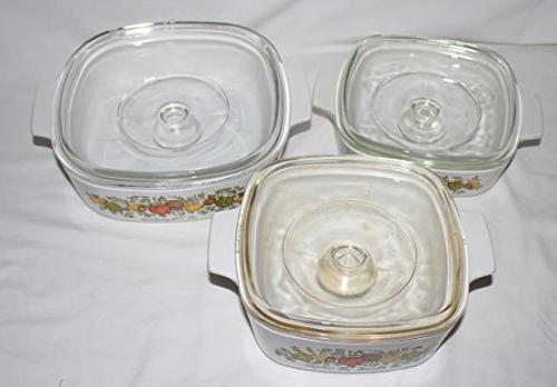 "Set of Vintage 1970s Corning "" Spice O' "" 1 1 & 2 Liter Skillet Casserole Baking w/"