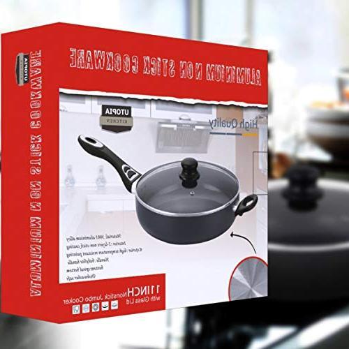 Utopia 11 Inches Jumbo Cooker - Sauté Deep Pan Glass Lid - 4.6 Quart Dishwasher