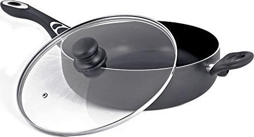 Utopia 11 - Sauté Pan - Deep Frying Pan with Glass Quart -