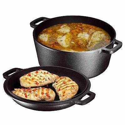 Utopia Kitchen Pre Seasoned Cast Iron Dutch Oven with Dual H