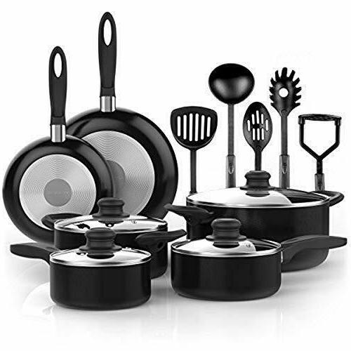 Vremi 15 Piece Cookware and Ovens with Glass Lids, Fry Nonstick Safe